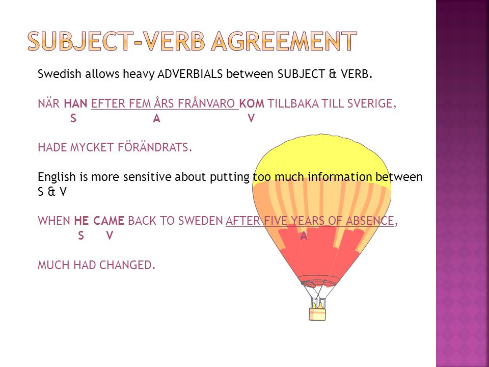 Swedish allows heavy ADVERBIALS between SUBJECT & VERB.