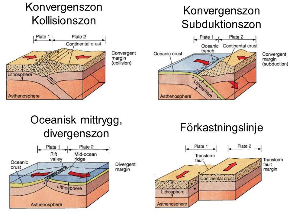 Konvergenszon Kollisionszon Konvergenszon Subduktionszon Oceanisk mittrygg, divergenszon Förkastningslinje
