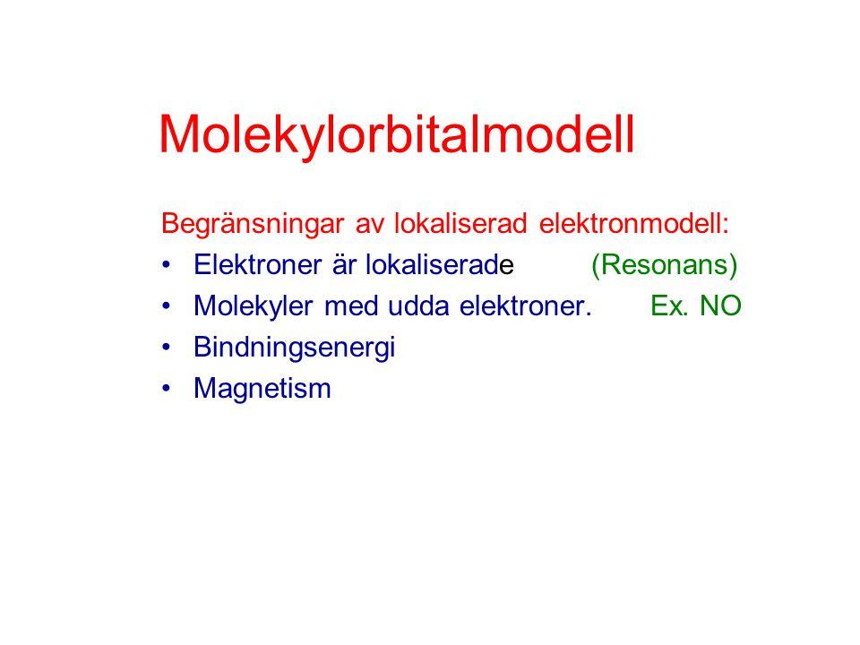 Molekylorbitalmodell Begränsningar av lokaliserad elektronmodell: Elektroner är lokaliserade(Resonans) Molekyler med udda elektroner. Ex. NO Bindnings