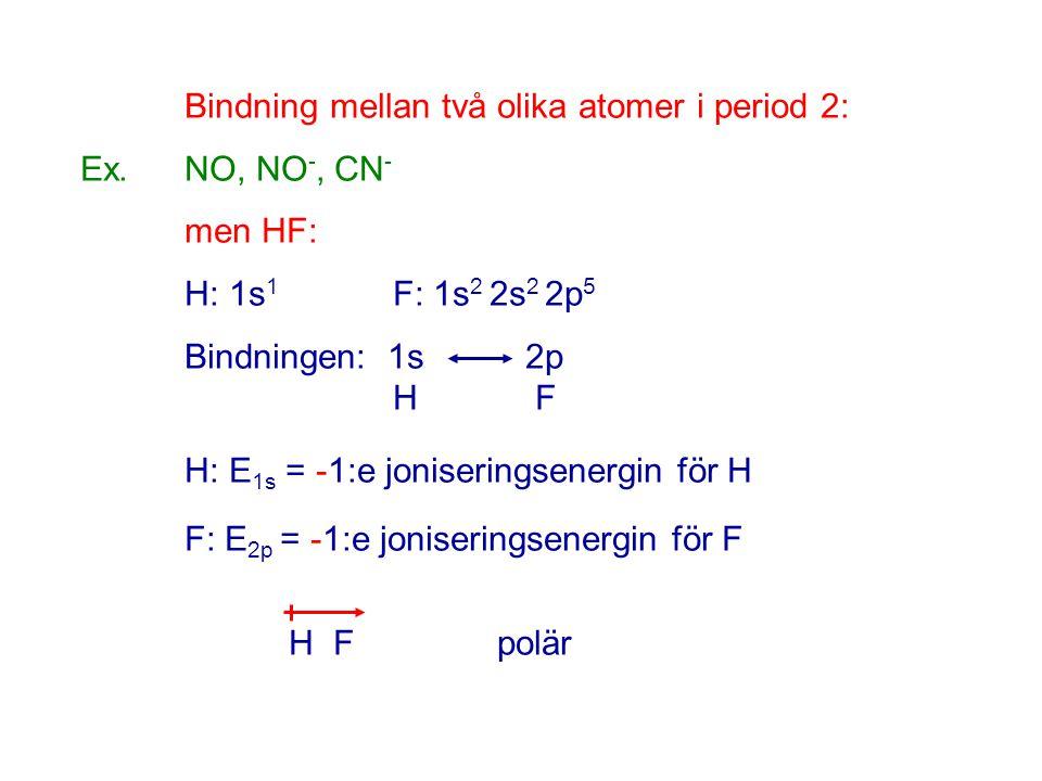 Bindning mellan två olika atomer i period 2: Ex.NO, NO -, CN - men HF: H: 1s 1 F: 1s 2 2s 2 2p 5 Bindningen: 1s 2p H F H: E 1s = -1:e joniseringsenerg