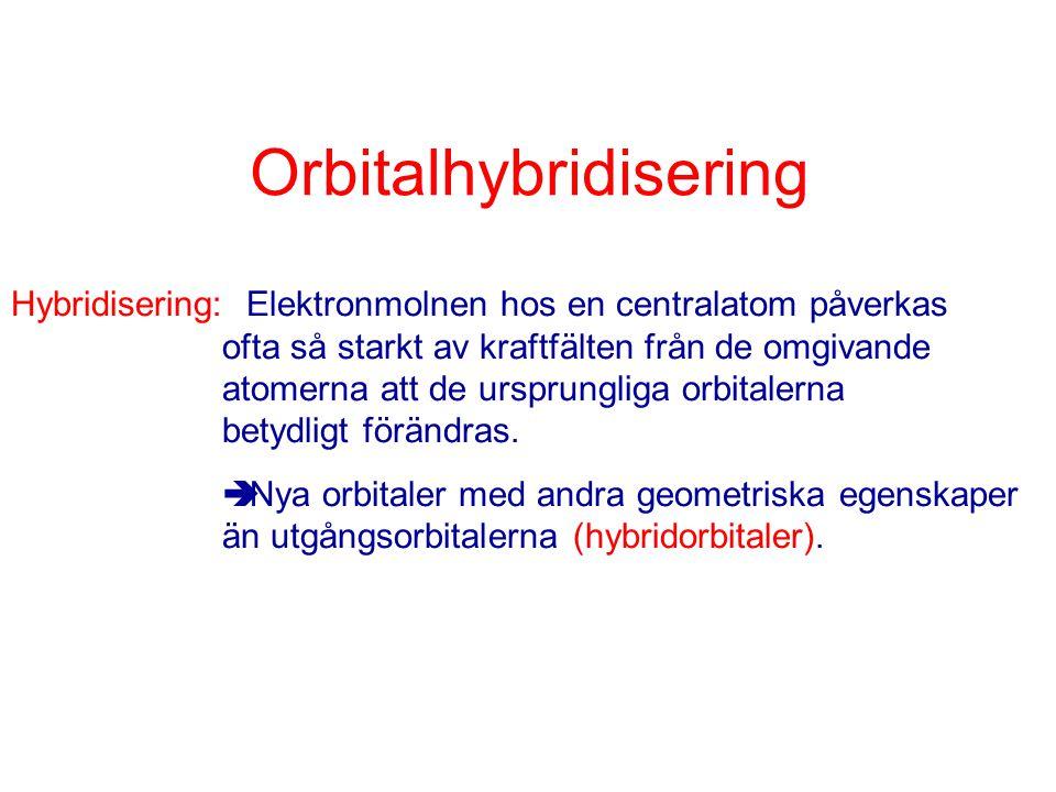 Orbitalhybridisering Hybridisering: Elektronmolnen hos en centralatom påverkas ofta så starkt av kraftfälten från de omgivande atomerna att de ursprun