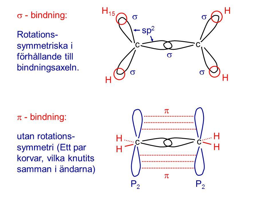  - bindning: c c H 15 H H H    sp 2 Rotations- symmetriska i förhållande till bindningsaxeln.  - bindning: H H c c H H P2P2   P2P2 utan rota