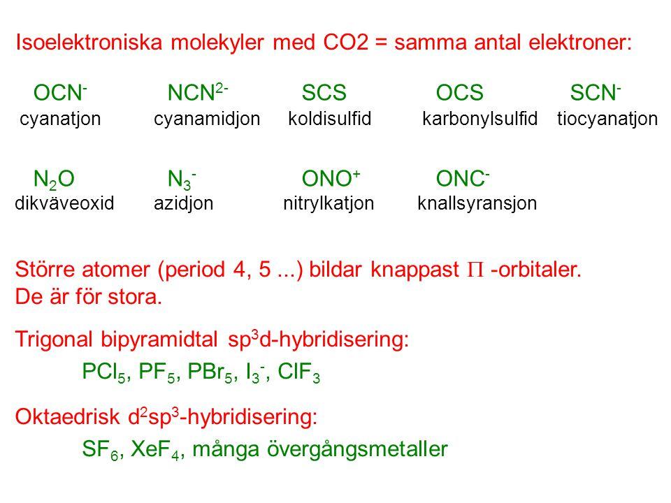 OCN - NCN 2- SCSOCSSCN - N 2 ON 3 - ONO + ONC - cyanatjoncyanamidjonkoldisulfidkarbonylsulfid tiocyanatjon dikväveoxid azidjonnitrylkatjonknallsyransj