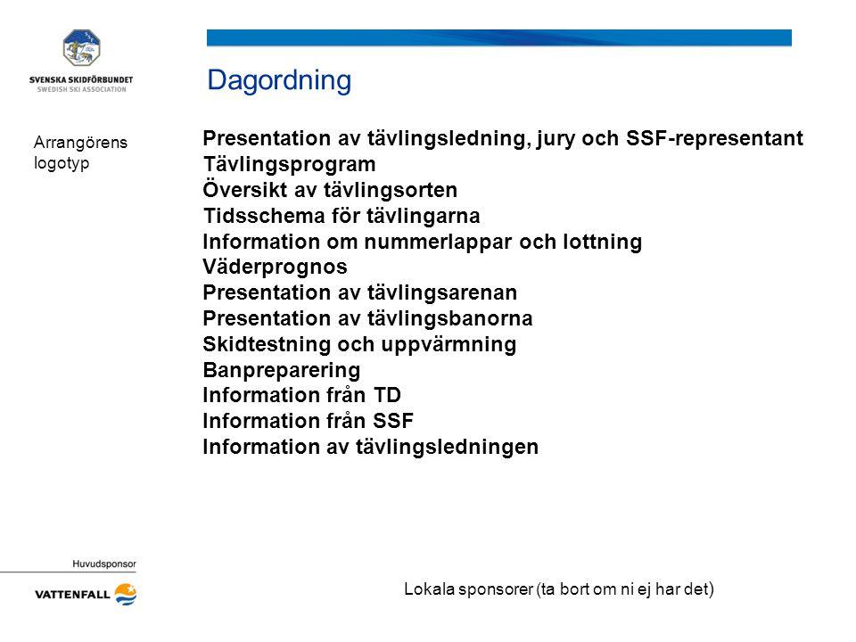 Dagordning Presentation av tävlingsledning, jury och SSF-representant Tävlingsprogram Översikt av tävlingsorten Tidsschema för tävlingarna Information om nummerlappar och lottning Väderprognos Presentation av tävlingsarenan Presentation av tävlingsbanorna Skidtestning och uppvärmning Banpreparering Information från TD Information från SSF Information av tävlingsledningen Arrangörens logotyp Lokala sponsorer (ta bort om ni ej har det )