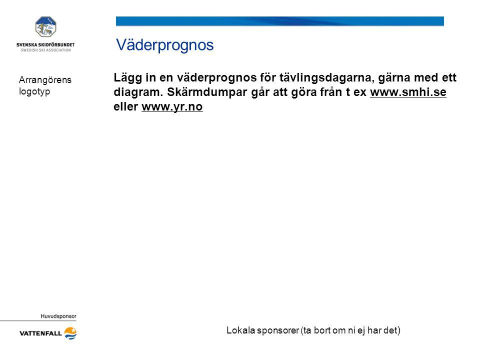 Väderprognos Lägg in en väderprognos för tävlingsdagarna, gärna med ett diagram. Skärmdumpar går att göra från t ex www.smhi.se eller www.yr.nowww.smh