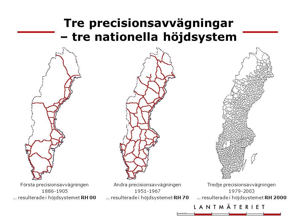 Tre precisionsavvägningar – tre nationella höjdsystem Första precisionsavvägningen 1886-1905 … resulterade i höjdsystemet RH 00 Andra precisionsavvägn