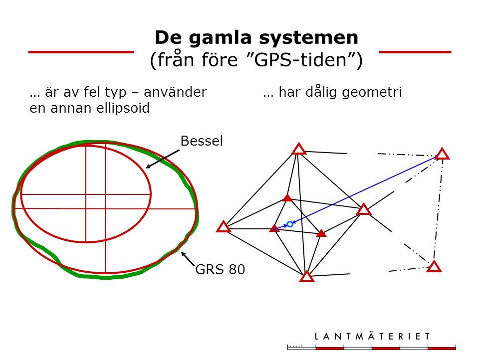 """De gamla systemen (från före """"GPS-tiden"""") … är av fel typ – använder en annan ellipsoid … har dålig geometri Bessel GRS 80"""