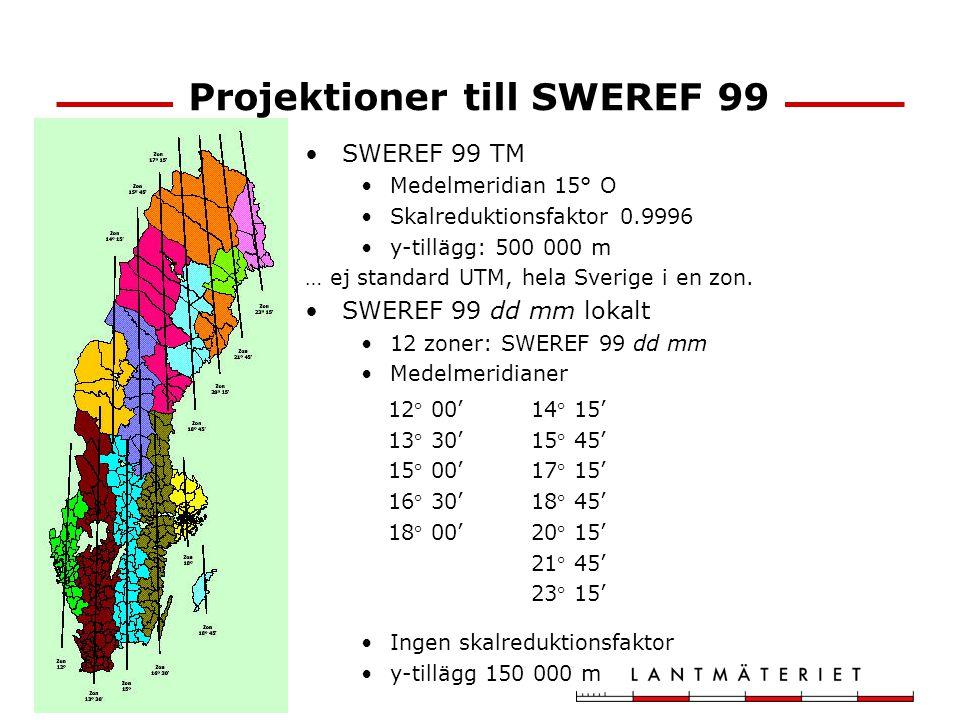 Projektioner till SWEREF 99 SWEREF 99 TM Medelmeridian 15° O Skalreduktionsfaktor 0.9996 y-tillägg: 500 000 m … ej standard UTM, hela Sverige i en zon