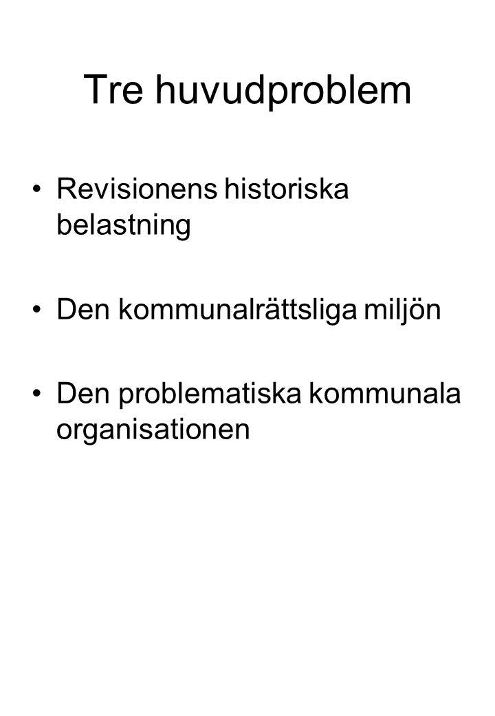 Tre huvudproblem Revisionens historiska belastning Den kommunalrättsliga miljön Den problematiska kommunala organisationen