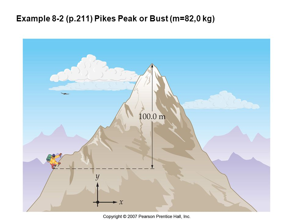 Example 8-2 (p.211) Pikes Peak or Bust (m=82,0 kg)