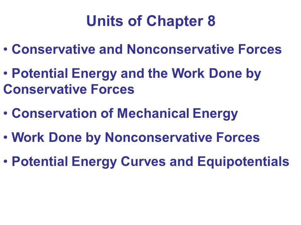 Active Example 8-3 Marathon Man Joggaren (m= 80,0 kg) har utfört ett ickekonservativt (positivt) (muskel)arbete W nc1 = 18,0 kJ Luftmotståndet har utfört ett ickekonservativt (neg.) W nc2 = - 4,42 kJ Joggarens fart på backens krön är = 3,50 m/s Bestäm backens höjd h E i = 0 E f = mgh + mv f 2 /2 = mgh + 490 J ΔE = E f - E i = W nc = (18,0 – 4,42) kJ h = [(18,0 – 4,42 – 0,49)kJ/(80,0 kg9,81 m/s 2 )= 16,7 m