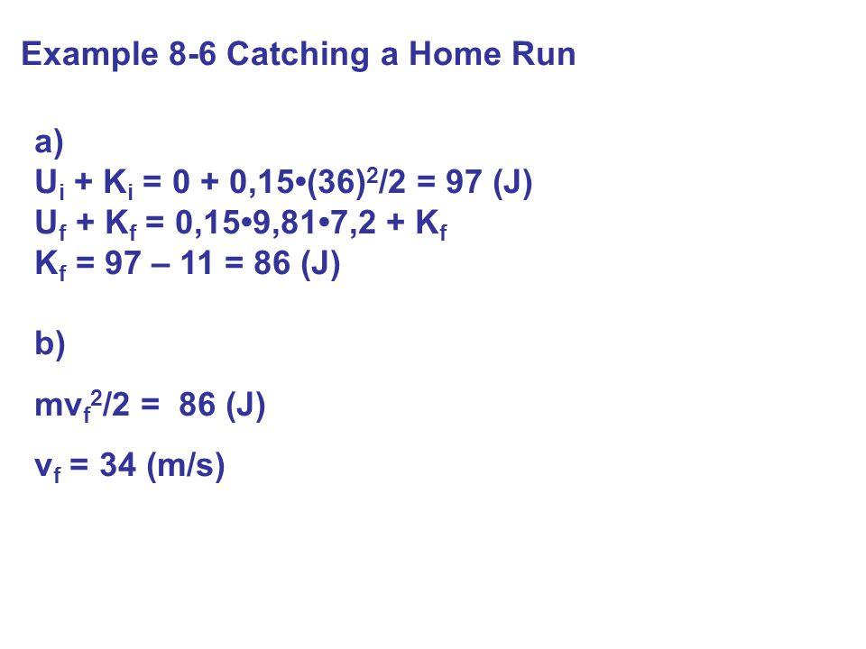 Example 8-6 Catching a Home Run a) U i + K i = 0 + 0,15(36) 2 /2 = 97 (J) U f + K f = 0,159,817,2 + K f K f = 97 – 11 = 86 (J) b) mv f 2 /2 = 86 (J) v