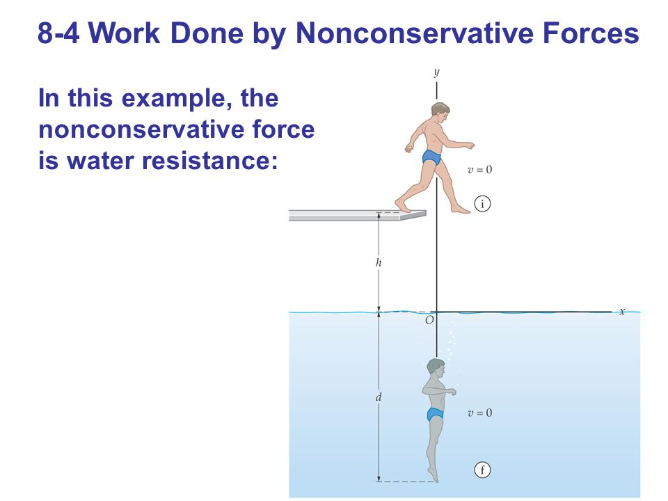 8-4 Work Done by Nonconservative Forces In this example, the nonconservative force is water resistance: