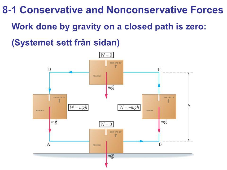 8-4 Work Done by Nonconservative Forces Eftersom hastigheten är noll i de två tillstånden gäller att E i = mgh E f = mg(-d) W nc = ΔE = E f – E i = -mg(h+d) = -5120 (J) som då h = 3,00 m ger d = 5120/mg – h = 5,49 – 3,00 = 2,49 (m)