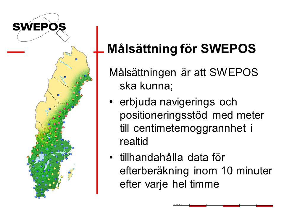 Syfte med SWEPOS Tillhandahålla GPS-data för: –Navigering –Positionsbestämning –Vetenskapliga ändamål Realisera det nationella referenssystemet – SWER