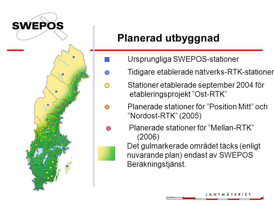 Distributionskanaler för SWEPOS Nätverks- RTK-tjänst Idag: GSM Under utveckling: GPRS (Internet) Satellittelefoni (Global Star) Radiolänk (lokal/FM-ra