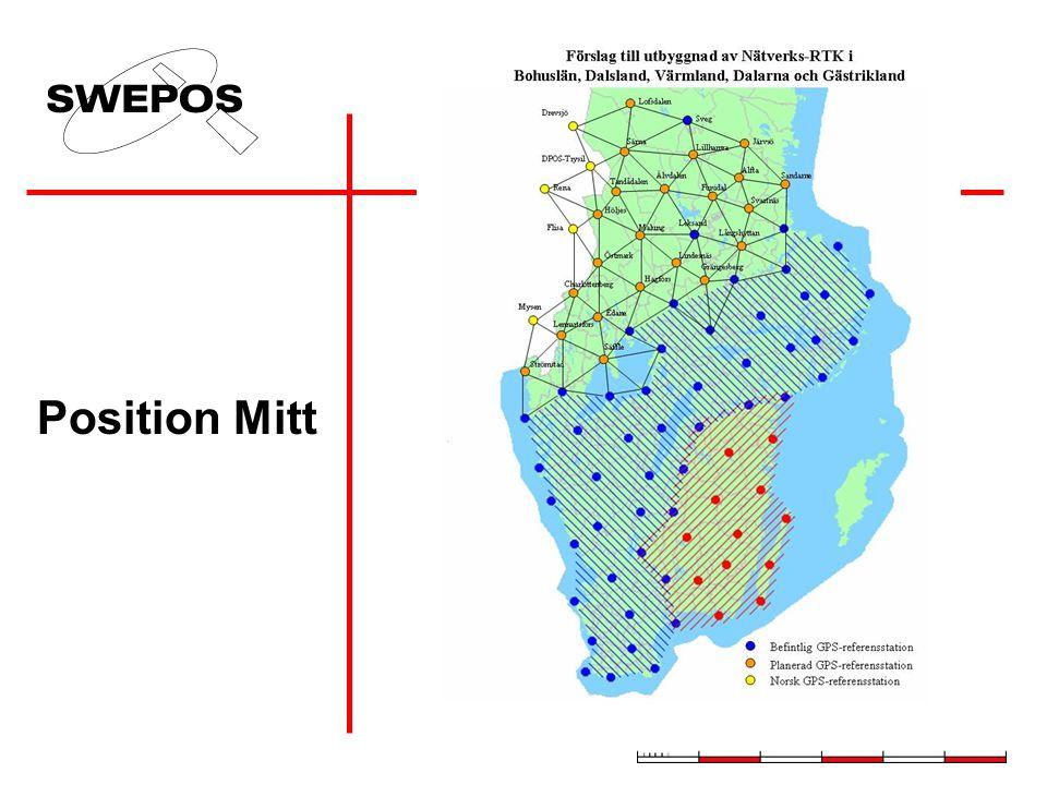 """Ursprungliga SWEPOS-stationer Tidigare etablerade nätverks-RTK-stationer Stationer etablerade september 2004 för etableringsprojekt """"Ost-RTK"""" Planerad"""