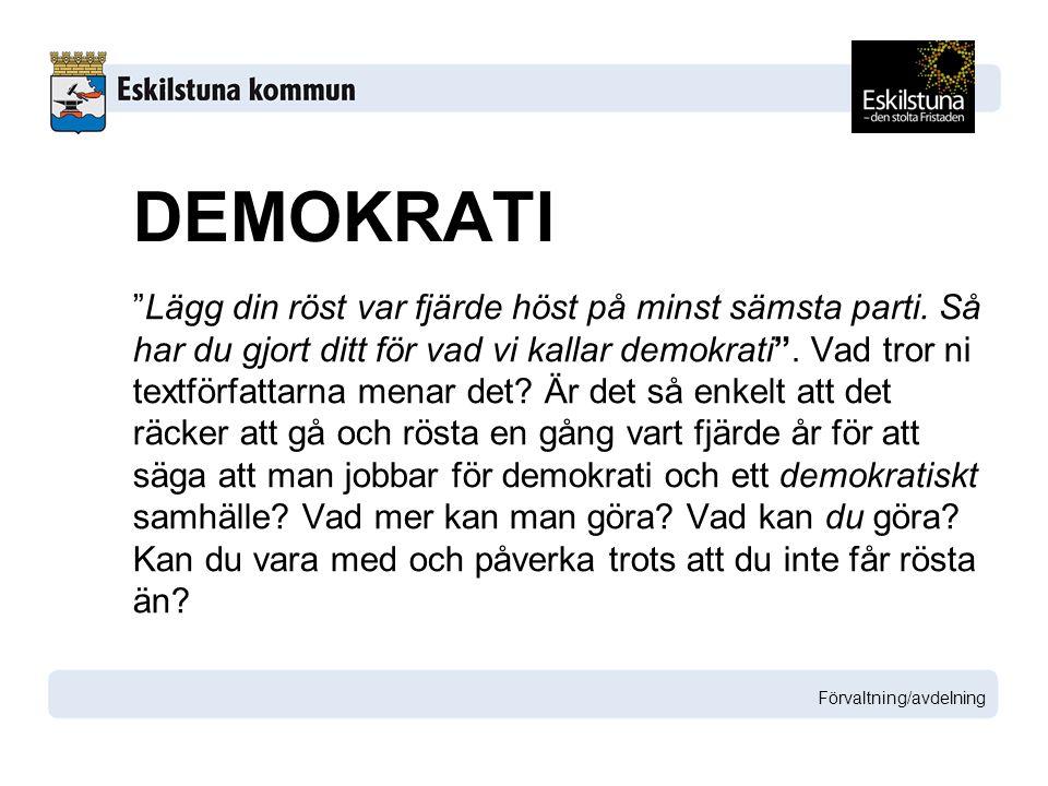 """""""Lägg din röst var fjärde höst på minst sämsta parti. Så har du gjort ditt för vad vi kallar demokrati"""". Vad tror ni textförfattarna menar det? Är det"""