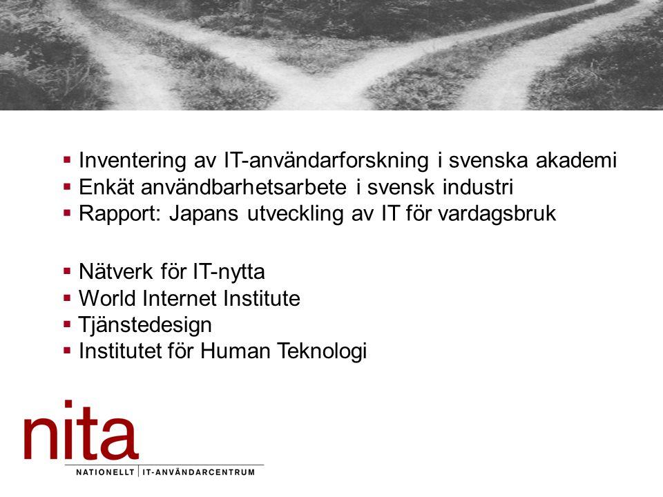  Nätverk för IT-nytta  World Internet Institute  Tjänstedesign  Institutet för Human Teknologi  Inventering av IT-användarforskning i svenska akademi  Enkät användbarhetsarbete i svensk industri  Rapport: Japans utveckling av IT för vardagsbruk