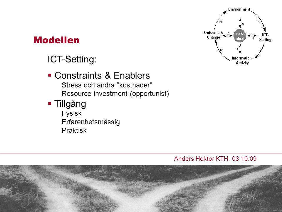 Anders Hektor KTH, 03.10.09 Modellen ICT-Setting:  Constraints & Enablers Stress och andra kostnader Resource investment (opportunist)  Tillgång Fysisk Erfarenhetsmässig Praktisk