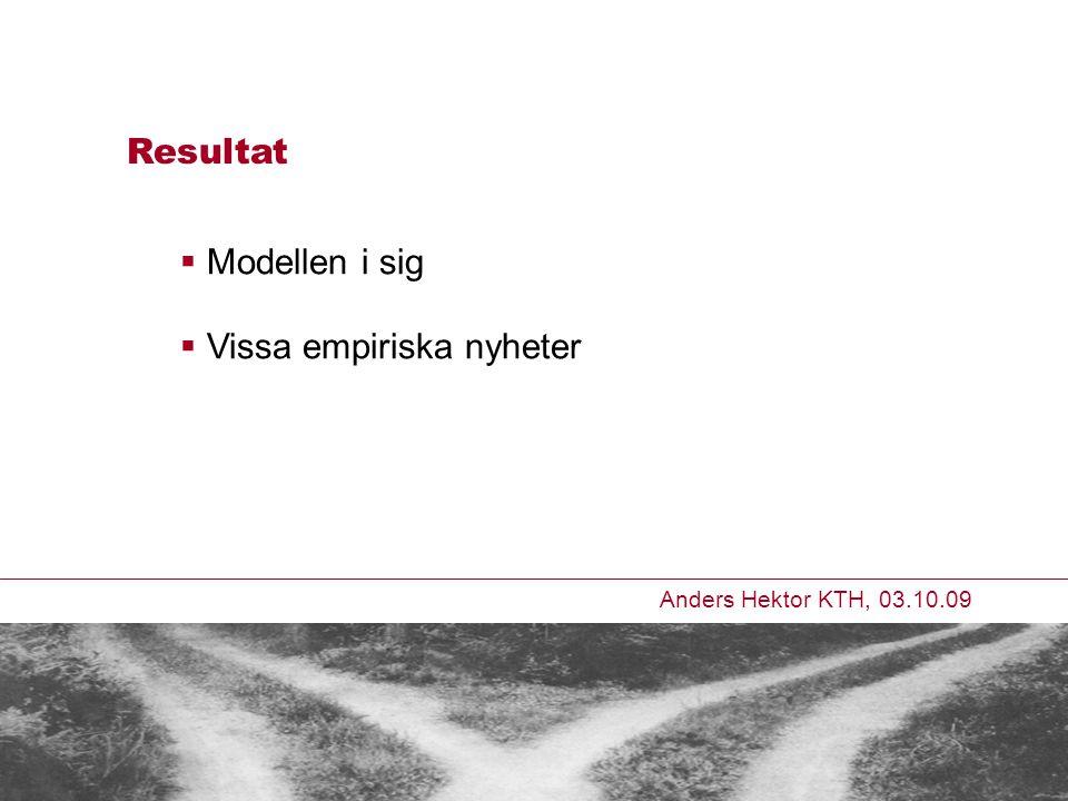 Anders Hektor KTH, 03.10.09 Resultat  Modellen i sig  Vissa empiriska nyheter