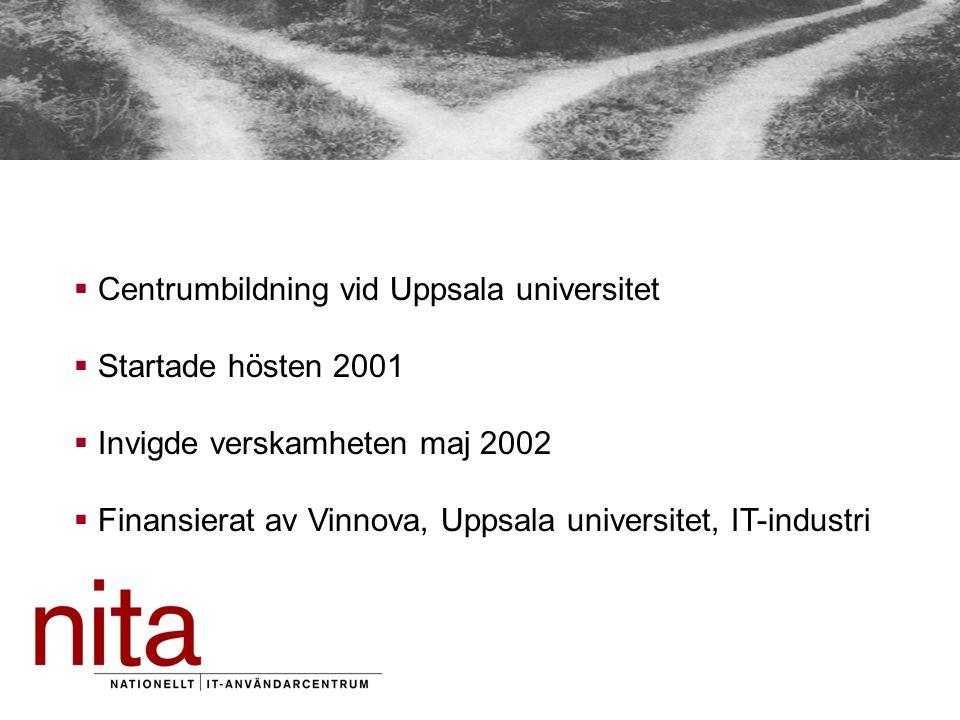  Centrumbildning vid Uppsala universitet  Startade hösten 2001  Invigde verskamheten maj 2002  Finansierat av Vinnova, Uppsala universitet, IT-industri