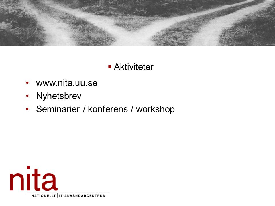  Aktiviteter www.nita.uu.se Nyhetsbrev Seminarier / konferens / workshop