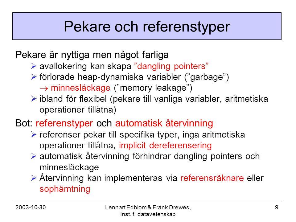 2003-10-30Lennart Edblom & Frank Drewes, Inst. f. datavetenskap 9 Pekare och referenstyper Pekare är nyttiga men något farliga  avallokering kan skap