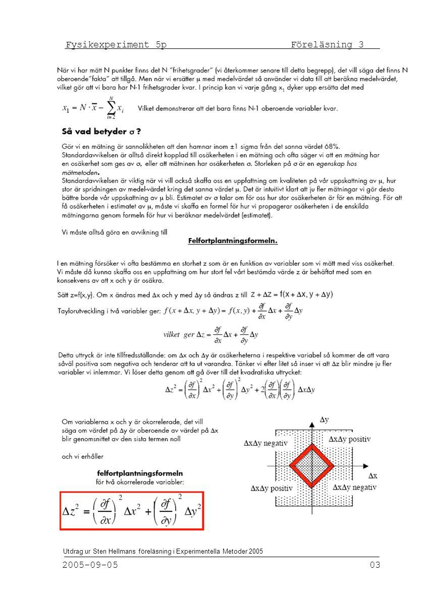 Fysikexperiment 5p Föreläsning 3 2005-09-05 03 Utdrag ur Sten Hellmans föreläsning i Experimentella Metoder 2005
