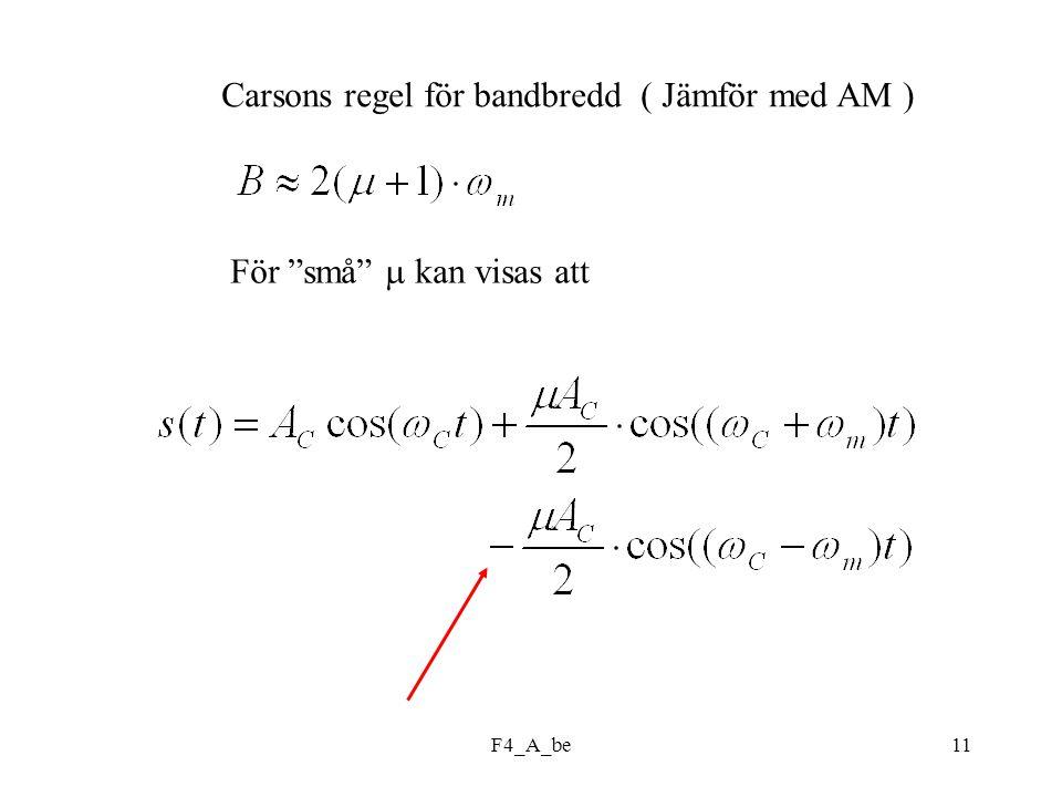 F4_A_be11 Carsons regel för bandbredd ( Jämför med AM ) För små  kan visas att