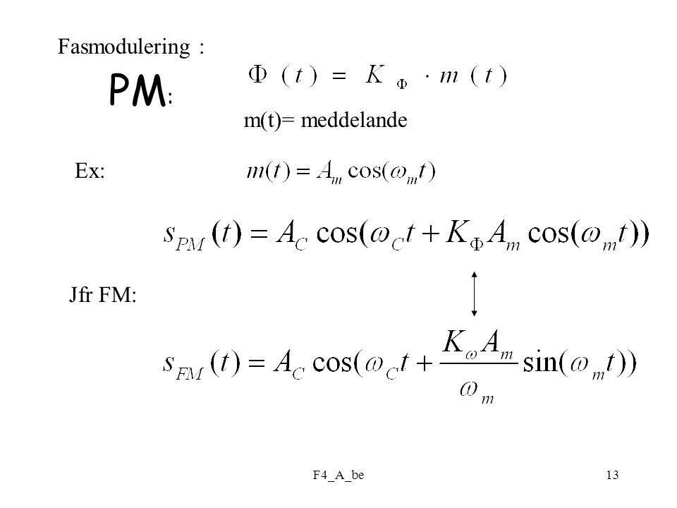 F4_A_be13 Fasmodulering : m(t)= meddelande Ex: Jfr FM: PM :