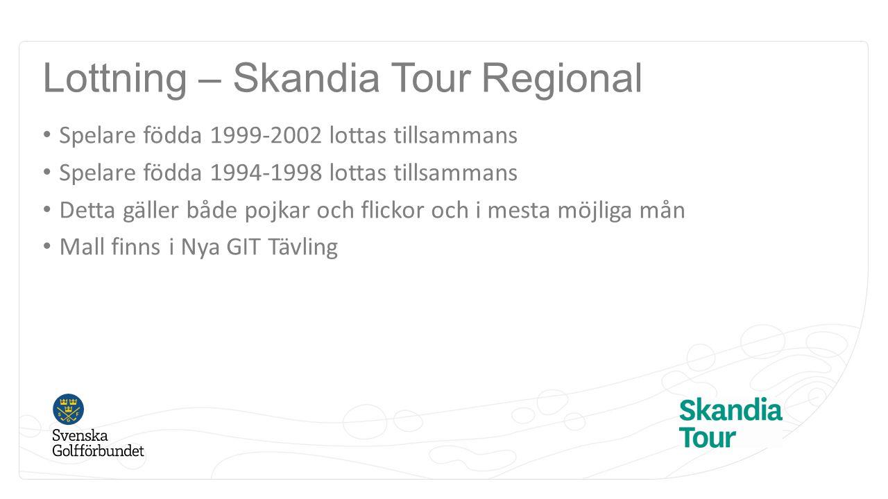 Lottning – Skandia Tour Regional Spelare födda 1999-2002 lottas tillsammans Spelare födda 1994-1998 lottas tillsammans Detta gäller både pojkar och fl