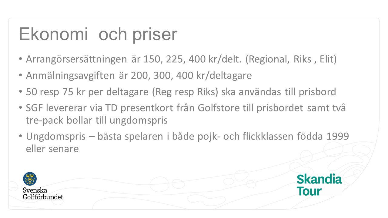 Ekonomi och priser Arrangörsersättningen är 150, 225, 400 kr/delt. (Regional, Riks, Elit) Anmälningsavgiften är 200, 300, 400 kr/deltagare 50 resp 75