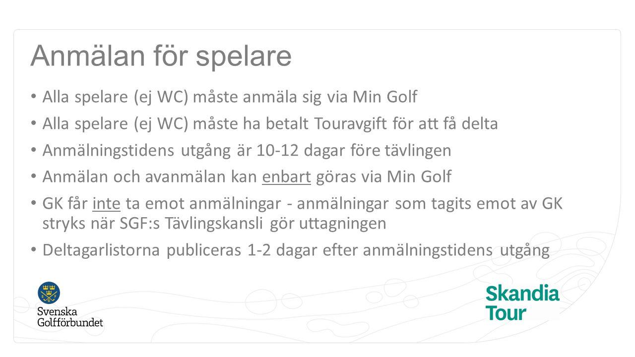 Anmälan för spelare Alla spelare (ej WC) måste anmäla sig via Min Golf Alla spelare (ej WC) måste ha betalt Touravgift för att få delta Anmälningstidens utgång är 10-12 dagar före tävlingen Anmälan och avanmälan kan enbart göras via Min Golf GK får inte ta emot anmälningar - anmälningar som tagits emot av GK stryks när SGF:s Tävlingskansli gör uttagningen Deltagarlistorna publiceras 1-2 dagar efter anmälningstidens utgång