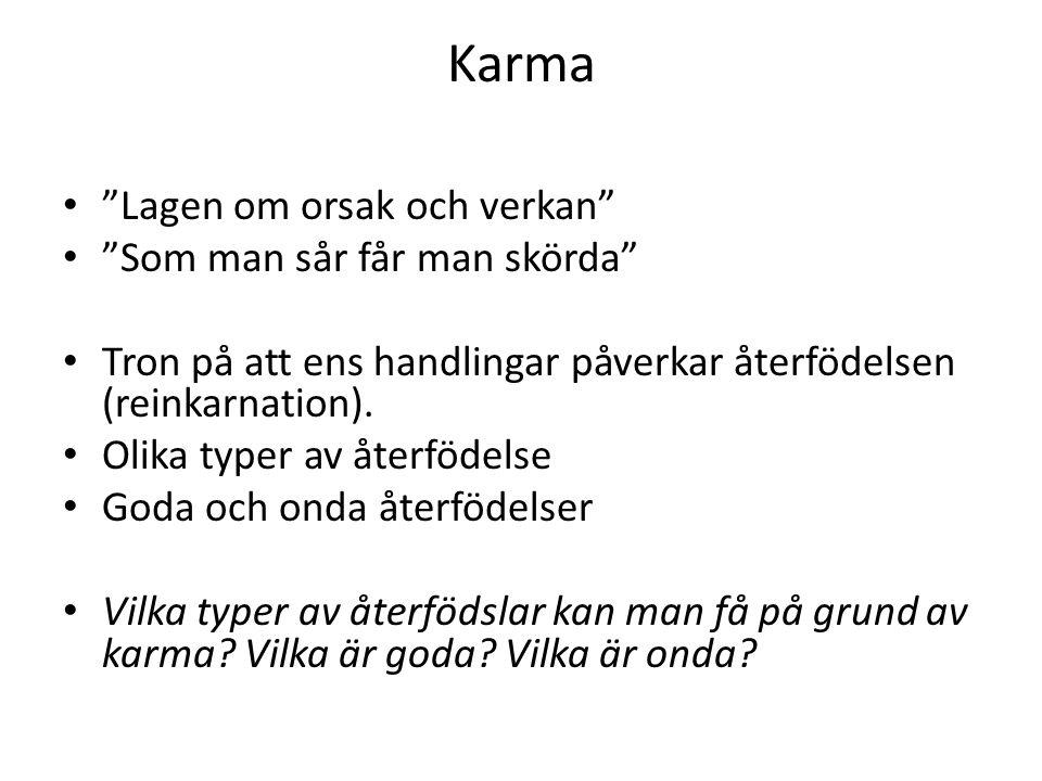Karma Lagen om orsak och verkan Som man sår får man skörda Tron på att ens handlingar påverkar återfödelsen (reinkarnation).
