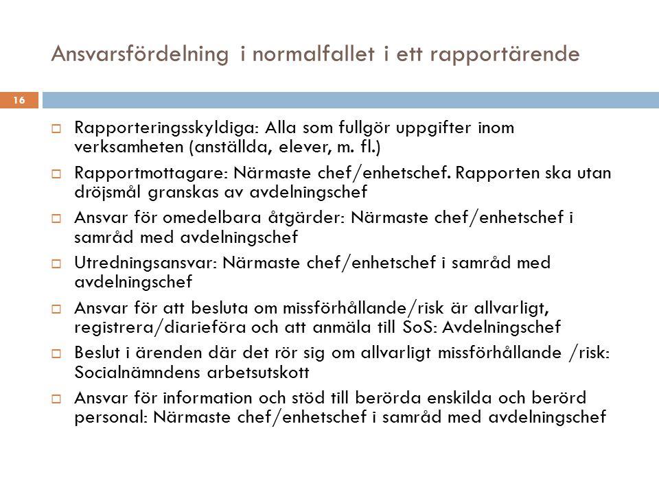 Ansvarsfördelning i normalfallet i ett rapportärende 16  Rapporteringsskyldiga: Alla som fullgör uppgifter inom verksamheten (anställda, elever, m. f