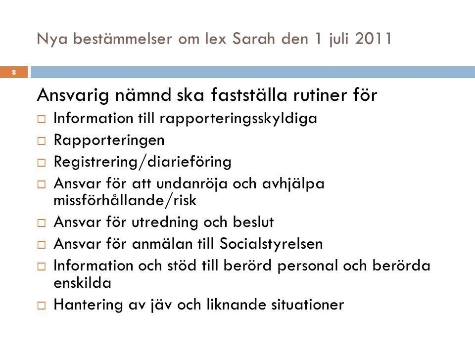 Nya bestämmelser om lex Sarah den 1 juli 2011 Ansvarig nämnd ska fastställa rutiner för  Information till rapporteringsskyldiga  Rapporteringen  Re