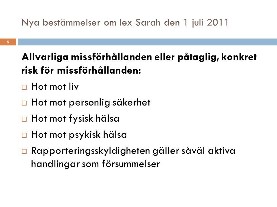 Nya bestämmelser om lex Sarah den 1 juli 2011 Allvarliga missförhållanden eller påtaglig, konkret risk för missförhållanden:  Hot mot liv  Hot mot p