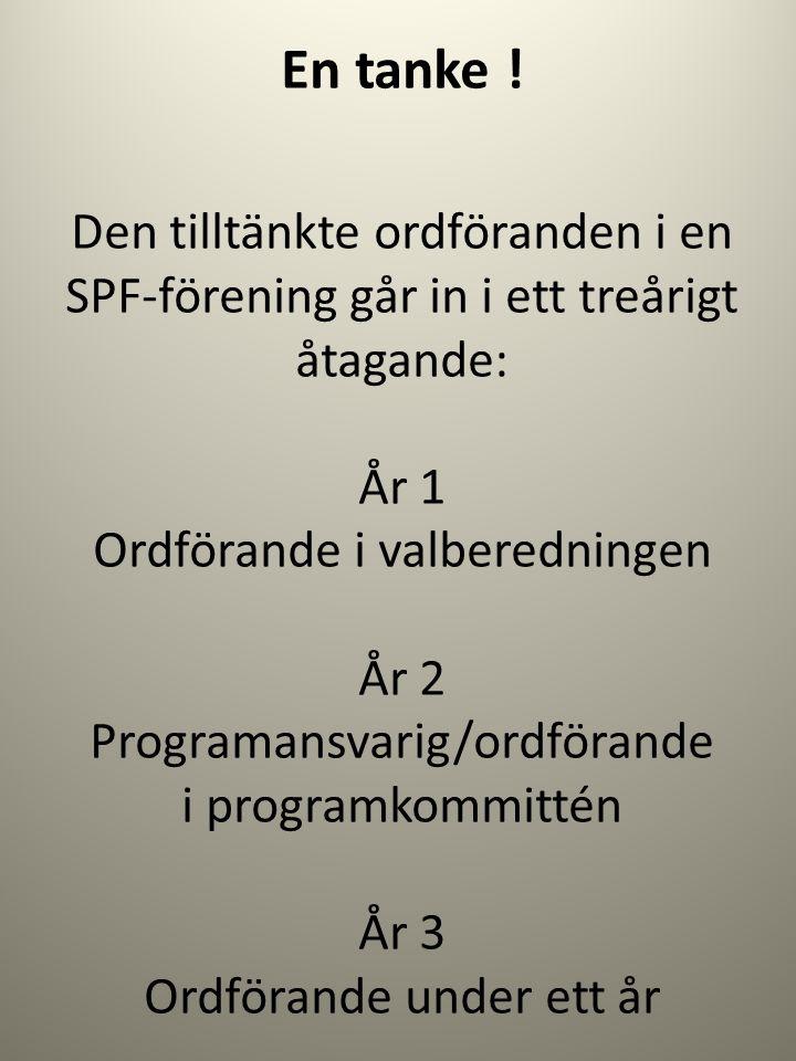 En tanke ! Den tilltänkte ordföranden i en SPF-förening går in i ett treårigt åtagande: År 1 Ordförande i valberedningen År 2 Programansvarig/ordföran