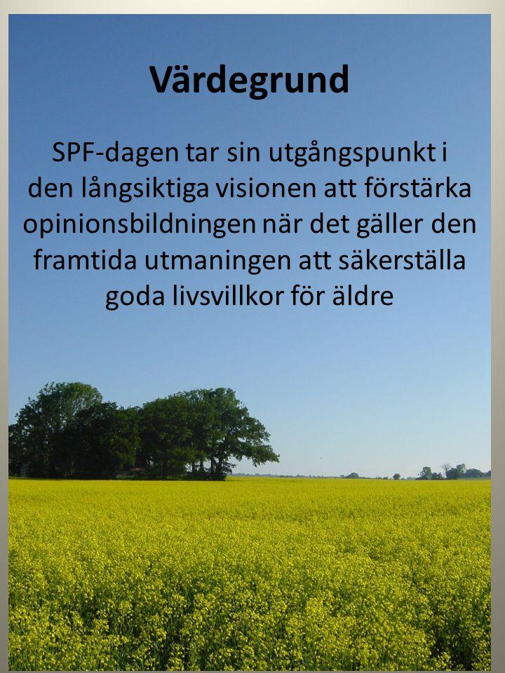 SPF-dagen 2013 Föreslås omfatta lokala valmöjligheter, aktuella för SPF-föreningens opinions- arbete på orten, inom fyra områden: Boende Kommunikationer Vård och omsorg Äldres säkerhet