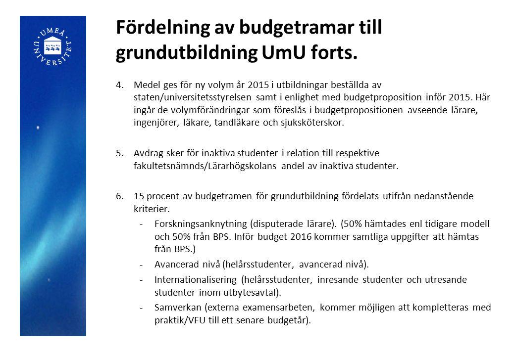 Fördelning av budgetramar till grundutbildning UmU forts. 4.Medel ges för ny volym år 2015 i utbildningar beställda av staten/universitetsstyrelsen sa