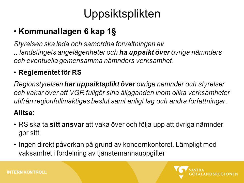 Uppsiktsplikten Kommunallagen 6 kap 1§ Styrelsen ska leda och samordna förvaltningen av..