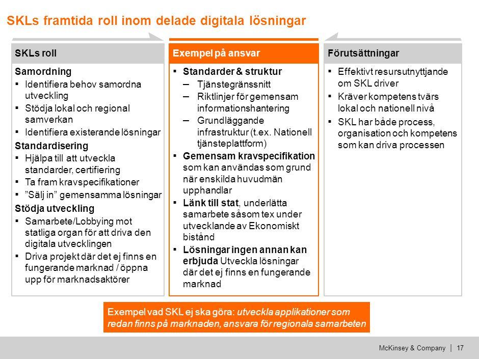 McKinsey & Company | 17 SKLs framtida roll inom delade digitala lösningar SKLs roll Samordning ▪ Identifiera behov samordna utveckling ▪ Stödja lokal