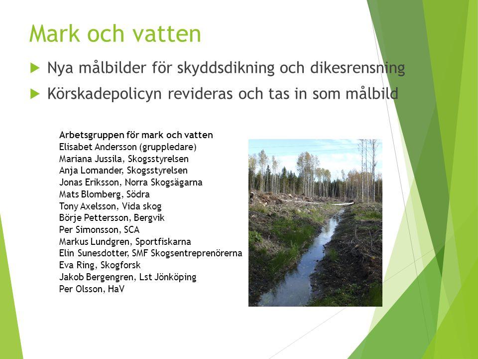 Mark och vatten  Nya målbilder för skyddsdikning och dikesrensning  Körskadepolicyn revideras och tas in som målbild Arbetsgruppen för mark och vatt