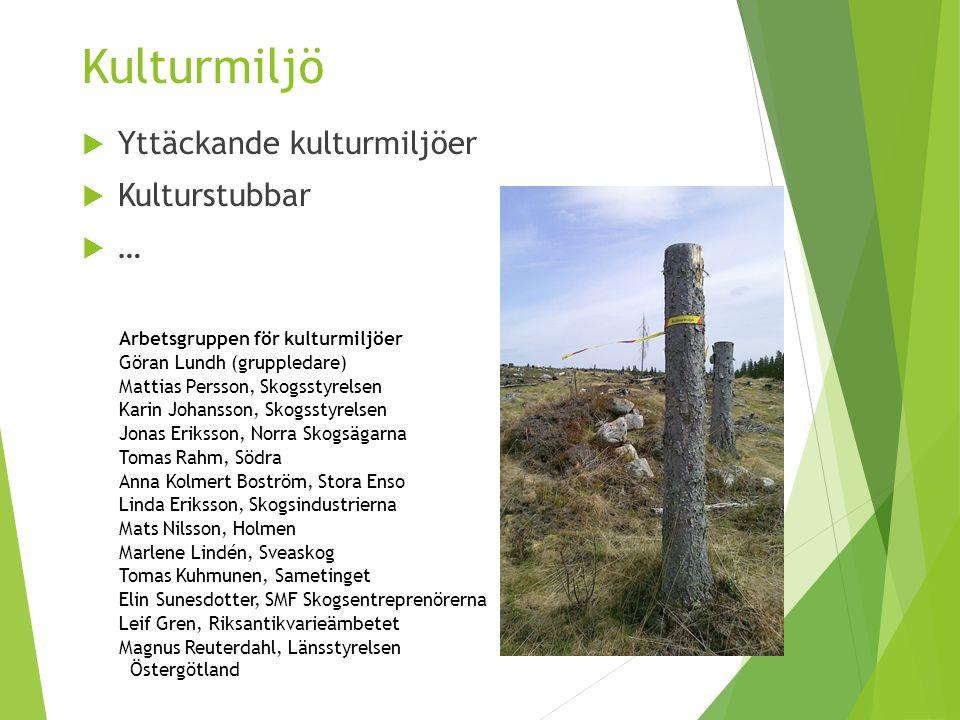 Kulturmiljö  Yttäckande kulturmiljöer  Kulturstubbar  … Arbetsgruppen för kulturmiljöer Göran Lundh (gruppledare) Mattias Persson, Skogsstyrelsen K