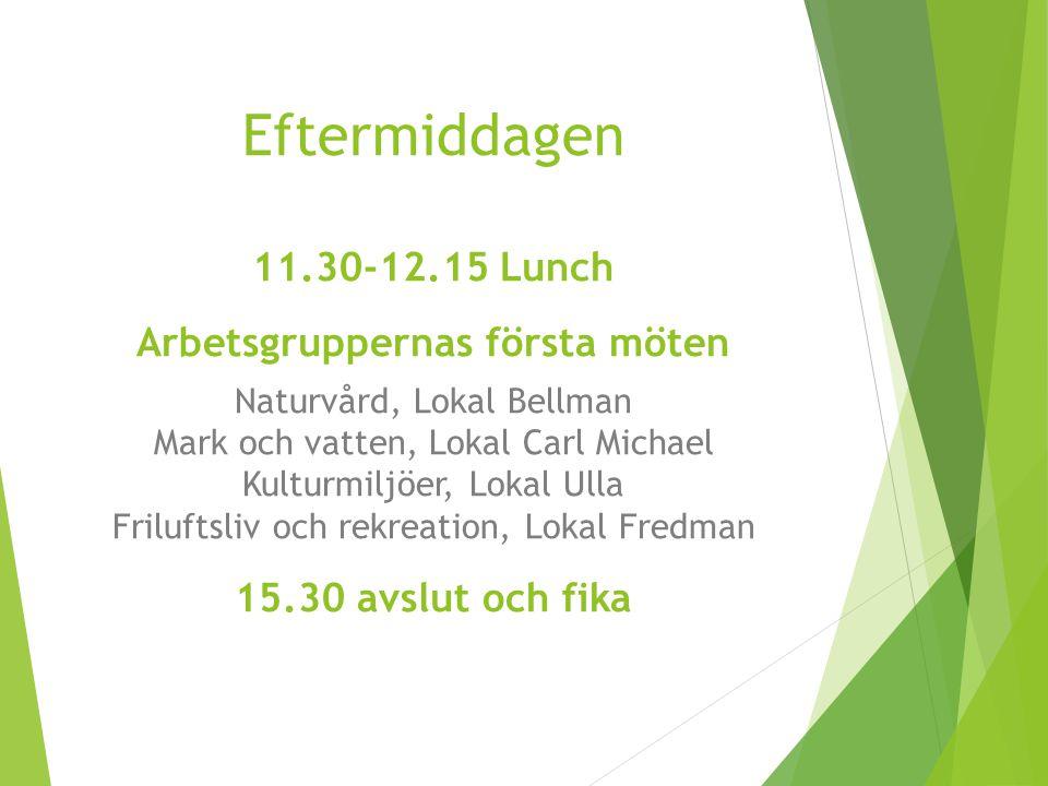 Eftermiddagen 11.30-12.15 Lunch Arbetsgruppernas första möten Naturvård, Lokal Bellman Mark och vatten, Lokal Carl Michael Kulturmiljöer, Lokal Ulla F