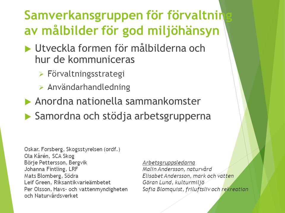 Samverkansgruppen för förvaltning av målbilder för god miljöhänsyn Oskar. Forsberg, Skogsstyrelsen (ordf.) Ola Kårén, SCA Skog Börje Pettersson, Bergv