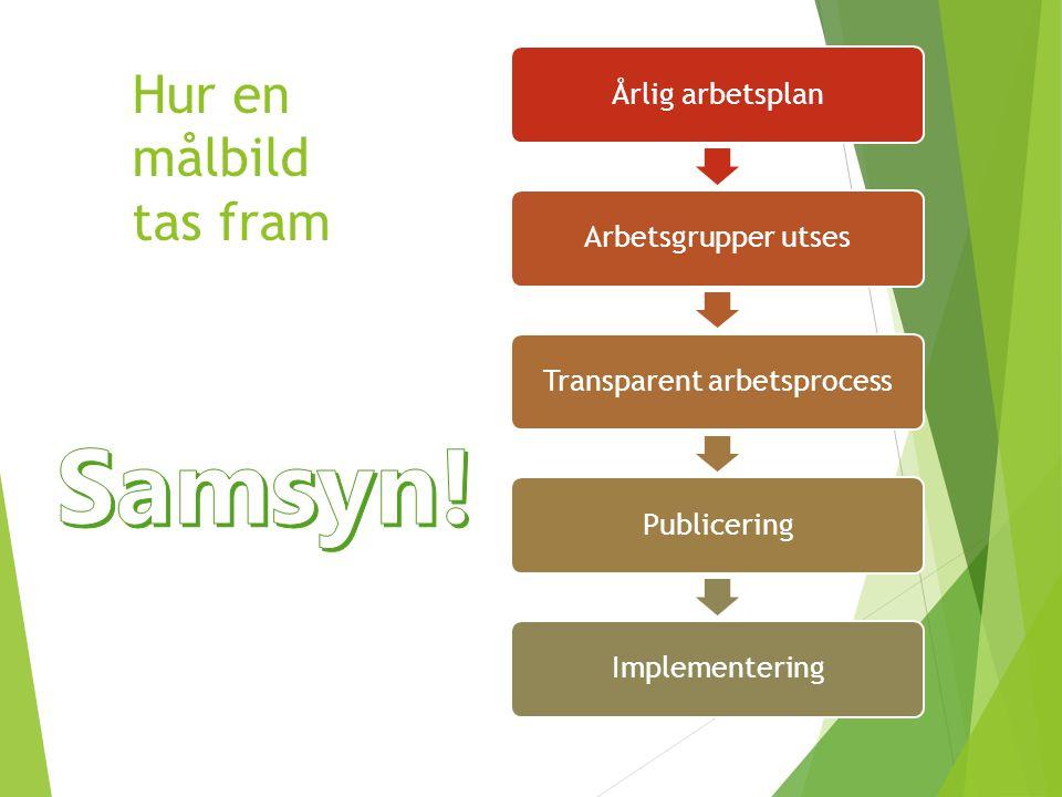 Hur en målbild tas fram Årlig arbetsplan Arbetsgrupper utses Transparent arbetsprocess Publicering Implementering