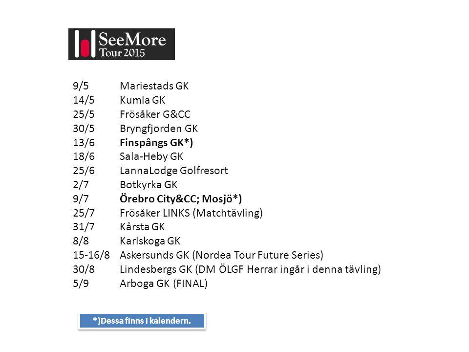 9/5 Mariestads GK 14/5 Kumla GK 25/5 Frösåker G&CC 30/5 Bryngfjorden GK 13/6 Finspångs GK*) 18/6 Sala-Heby GK 25/6 LannaLodge Golfresort 2/7 Botkyrka