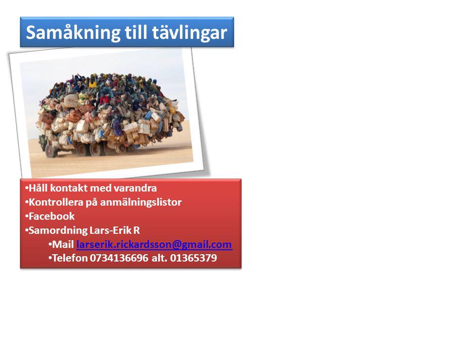 Samåkning till tävlingar Håll kontakt med varandra Kontrollera på anmälningslistor Facebook Samordning Lars-Erik R Mail larserik.rickardsson@gmail.com